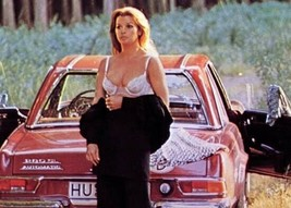 Senta Berger in bra and open black dress poses by red Mercedes SL 5x7 in... - $5.75
