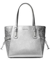 NWT MICHAEL Michael Kors Voyager East West Leather Tote Pewter - $191.57