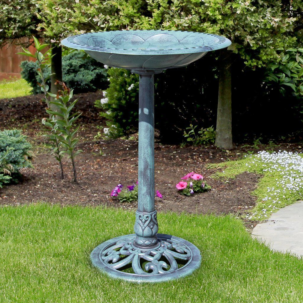 Garden Pedestal Bird Bath Antique Green Metal Birdbath Yard Stand Ground Decor