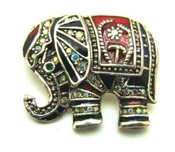 Very Sweet Indian Elephant Pin Vtg Rhinestone Colorful Enamel Brooch - $14.20
