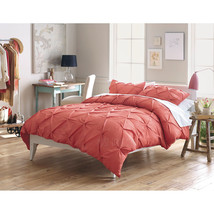 NEW Threshold Pinched Pleat 3 Piece KING Duvet Cover Set Coral/Rose 100% COTTON - $79.99