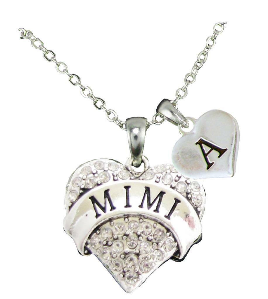 Custom Mimi Silver Crystal Heart Necklace Jewelry Choose Initial All 26 Gift - $14.24