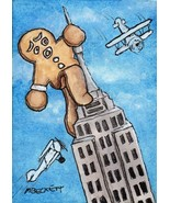 ACEO Original Painting Gingerbread Kong cookie man king building airplane - $16.00