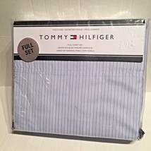 Tommy Hilfiger Signature Cotton Blend Stripe White/ Blue Full 4 Piece Sh... - $53.81