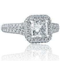 1.62 Ct Princess Cut Diamond Engagement Halo Ring 18k White Gold - $3,563.52