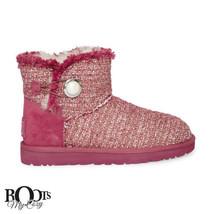 UGG MINI BAILEY BUTTON FANCY BURGUNDY WINE BLING SHEEPSKIN BOOTS SIZE US... - £101.82 GBP