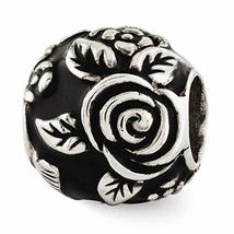 Sterling Silver s Black Enameled Floral Theme Bali Bead by Reflection Beads - $30.67