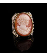 LARGE Italian cameo ring - Amedeo carved cameo - size 5 3/4 - designer r... - $65.00