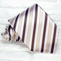 Wide brown beige white necktie striped silk Made in Italy wedding / busi... - $26.55