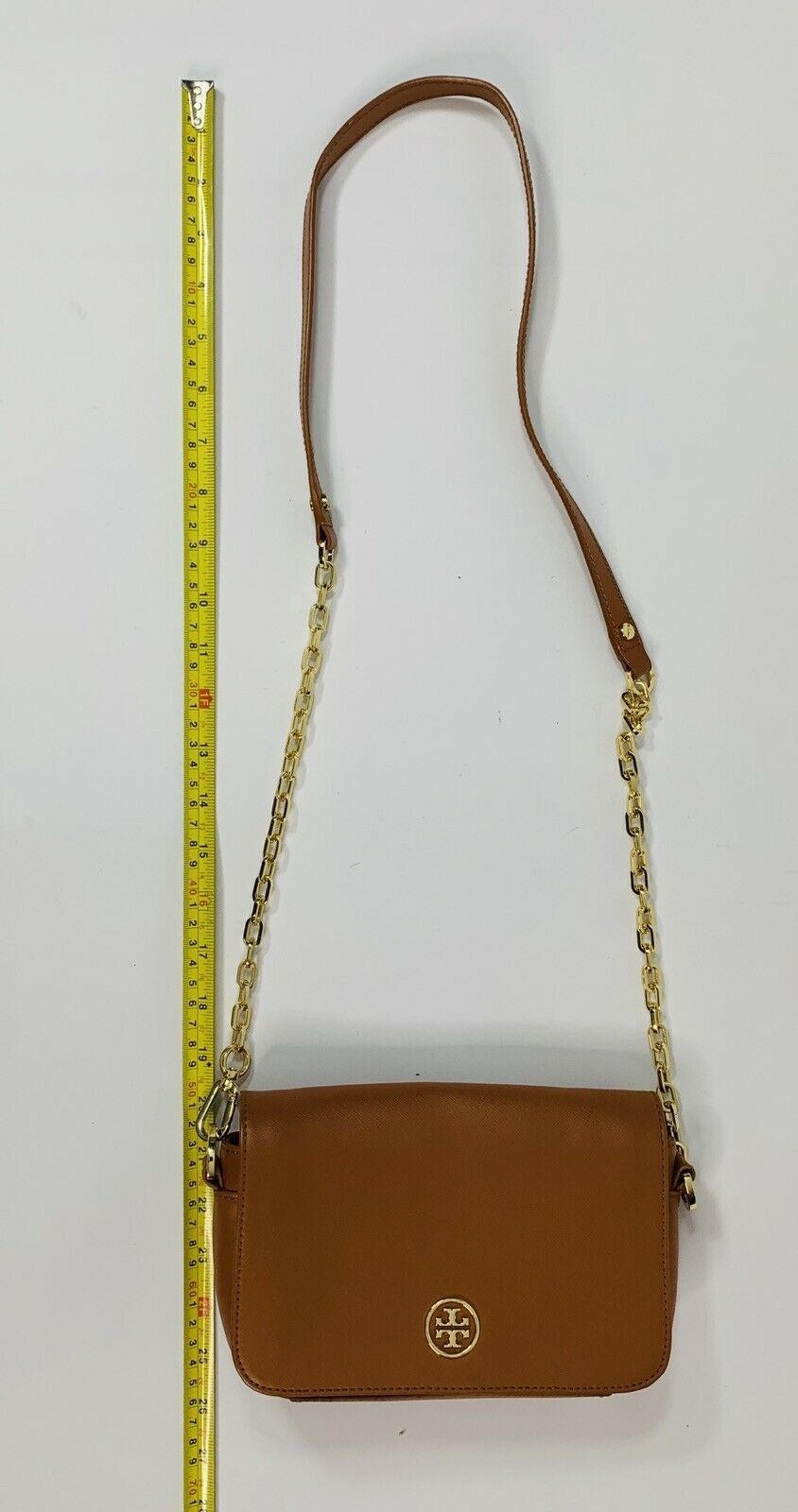Tory Burch Robinson Chain Strap Tiger's Eye Brown Leather Crossbody Bag image 6