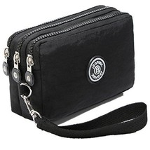 Three Layer Zipper Purse Waterproof Nylon Wallet Handbag Cell Phone Pouch Coin - $24.84