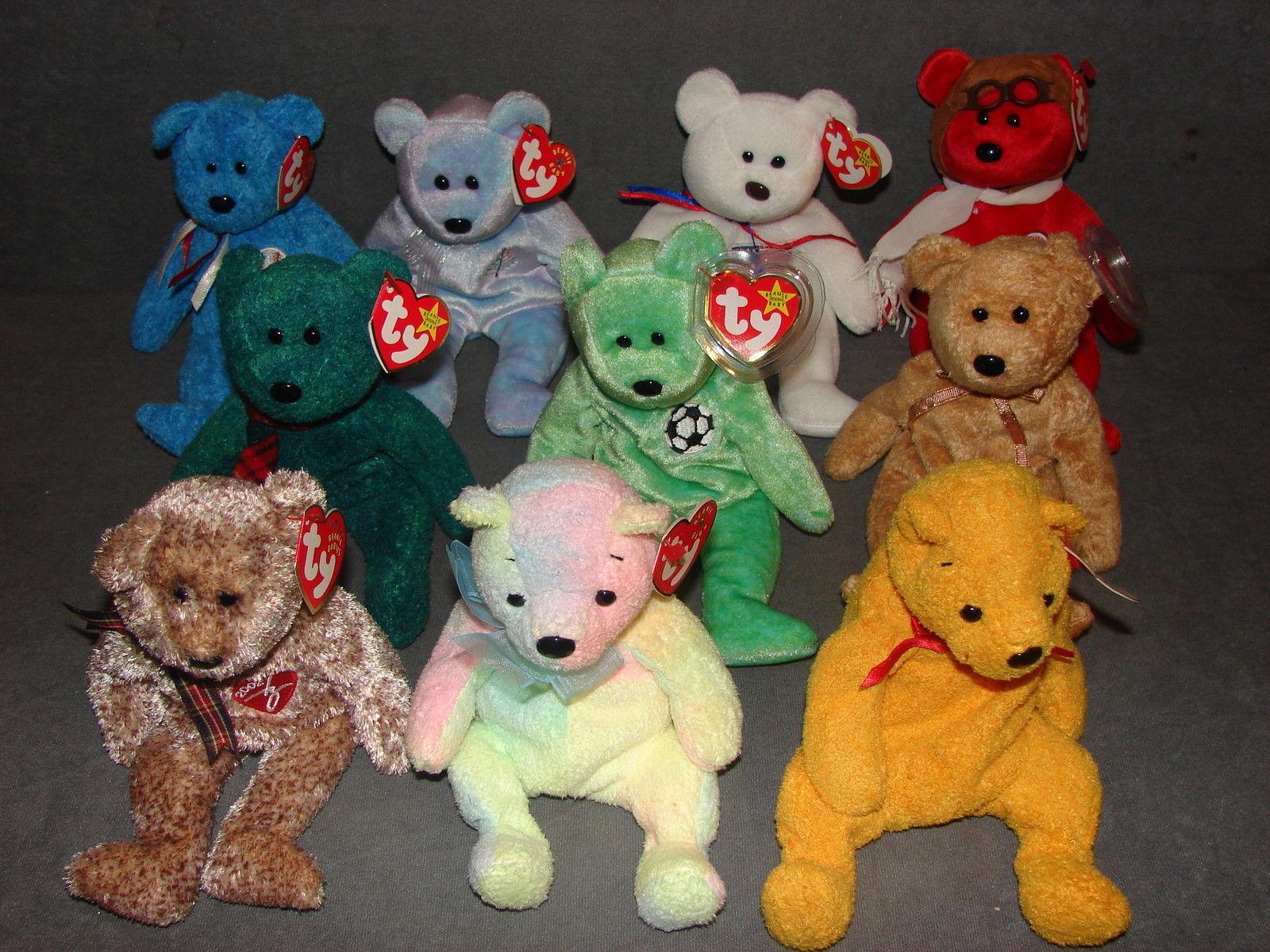 ab9a2883157 Ty Beanie Babies  10 Bears Bearon Cashew Issy Kicks Mellow Poopsie Wallace  NWT