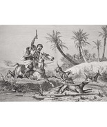 HUNTING Arab on Horse Letting Dogs Hounds Loose - 1878 Fine Quality Print - $35.96