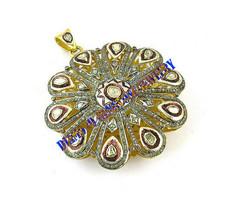 Wedding Pendant 925 Solid Sterling Silver Victorian Rose Cut Uncut Polki Diamond - $448.76