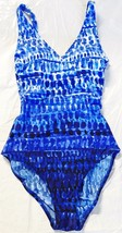 ESSENTIALS BY GOTTEX Womens NWT Blue Built-In Bra 1-Piece Swimsuit Size 8 - $18.95