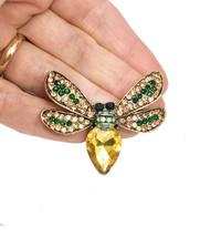 "1.75"" Wide Yellow, Peach,Green Fake Opal Acrylic Rhinestones Bee Fly Brooch Pin - $10.93"