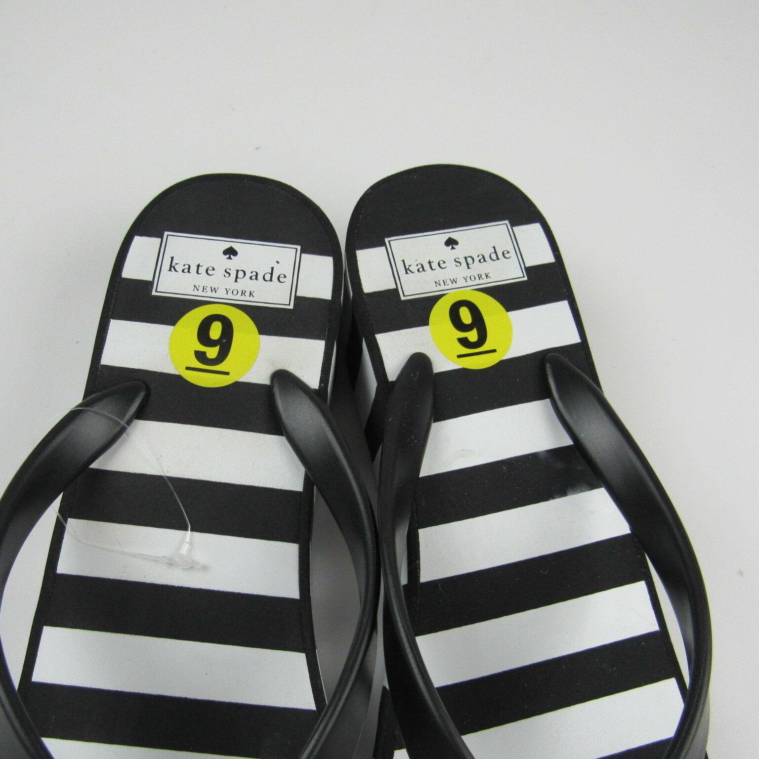 d15f53379cbc Kate Spade Womens Flip Flops Sandals Black White Striped Platform Thong Bow
