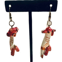 Vintage Wood Carved White Parrot with Hat  Dangle Drop Hook Earrings K755 - $12.34