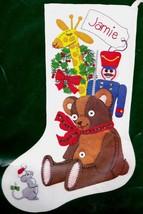 80's Dimensions Teddy Bear Soldier Giraffe Felt Embroidery Stocking Kit ... - $82.95