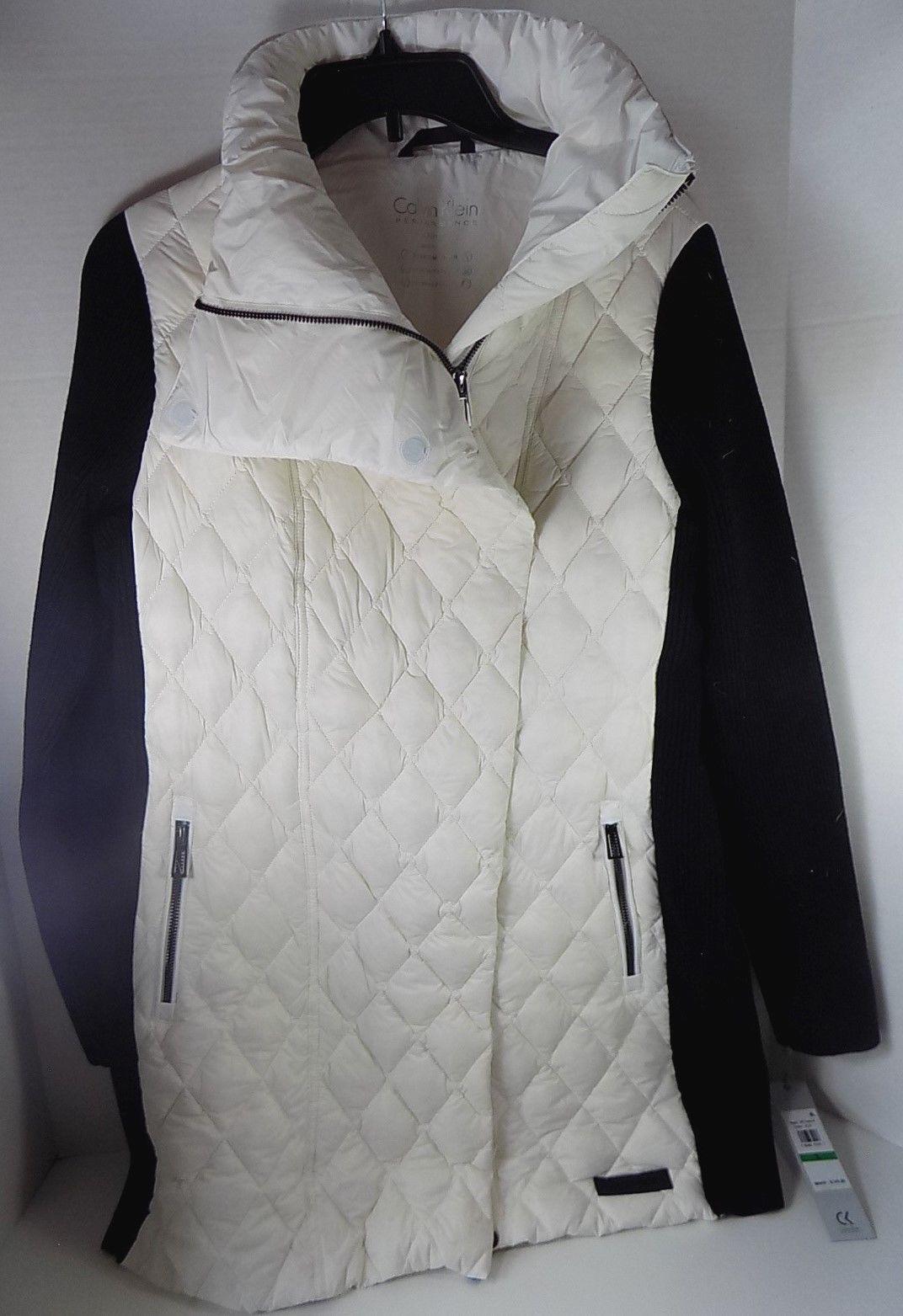 Calvin Klein Womens Down Filled Asymmetric Walker Coat Large Cloud - $149 - NWT