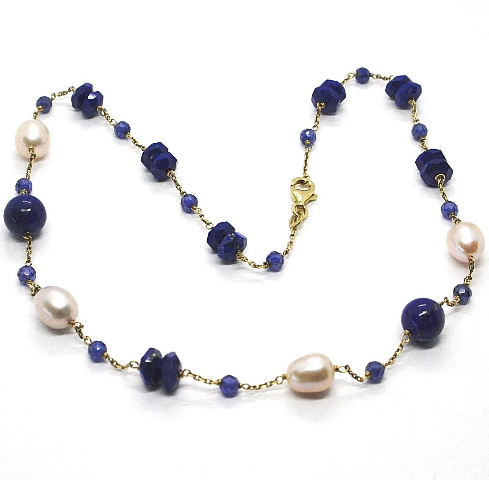 Silver 925 Necklace, Yellow, Blue Lapis Disc and Balls, Beads, 45 CM