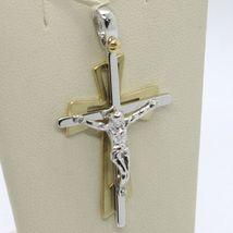 SOLID 18K WHITE YELLOW GOLD PENDANT DOUBLE CROSS, JESUS, SATIN, MADE IN ITALY image 7