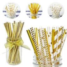 Metallic Heart Star Foil Striped Paper Straws 25pcs Paper Straws Strip D... - $9.29 CAD
