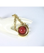 MONET Pendant Necklace, Red Cabochon, Bib Necklace, Heavy Chain, Safety Hook Cla - $19.50
