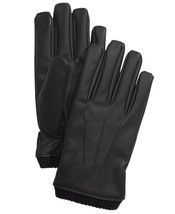 Calvin Klein Men's Fleece Lined Faux-Leather Driving Gloves in Black-Large - $16.99