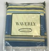 Waverly Imperial Garden Porcelain Euro Pillow Sham Striped Blue Yellow 26 x 26 - $24.74