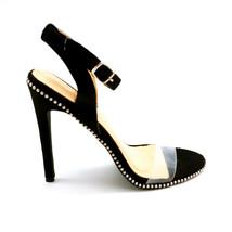 Chase & Chloe Womans Gigi Studded High Heel Ankle Strap Sandal Black Sz 7 M NEW - $21.45