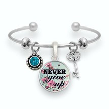 Never Give Up Silver Key Teal Crystal Cuff Bracelet Inspirational Jewelry Gift - $13.80