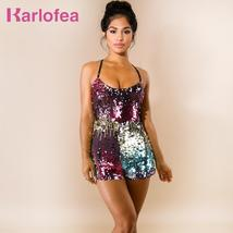 Karlofea Women Fashion Slim Colorful Shiny Sequin Rompers Sexy Sleeveless Strap  - $43.03