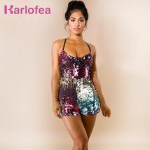 Karlofea Women Fashion Slim Colorful Shiny Sequin Rompers Sexy Sleeveles... - €38,51 EUR