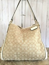 Coach Madison  Phoebe Shoulder Bag  canvas/leather khaki off whithe - $74.25