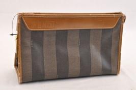 FENDI Pequin Canvas Clutch Bag Black Brown Auth ar776 **Sticky - $85.00