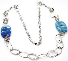 925 Silver Necklace, Agate Blue Striated Oval Large, White Agate, 90 cm long image 3