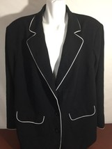 Maggie Barness Men Blazer Jacket Black Stretch Two Buttons Long Sleeve S... - $22.44