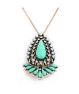 "J.Crew ""Cynthia""Blue/Green Long Pendant Necklace Rhinestone Crystal&Resin - $9.99"