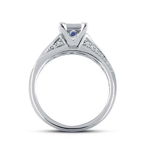 Bridal Engagement Ring Set Princess Cut Sim Diamond 14k White Gold FN 925 Silver