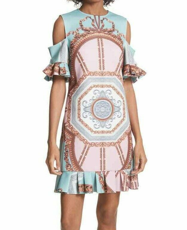$315 TED BAKER NORAHE VERSAILLES COLD SHOULDER FRILL DRESS TED'S SIZE 1 NWT