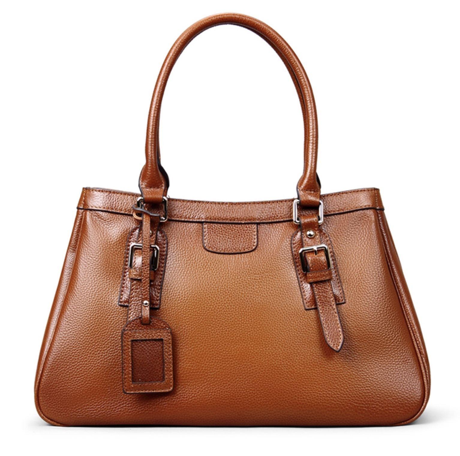 New Pebbled Italian Leather Brown Satchel Handbag Shoulder Bag 9834