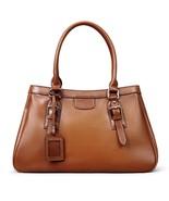 New Pebbled Italian Leather Brown Satchel Handbag Shoulder Bag 9834 - $159.95