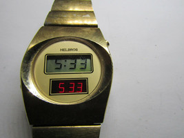 VINTAGE RARE 1970'S DUAL RED LED LCD DISPLAY HELBROS WATCH RUNS MADE IN USA - $975.00