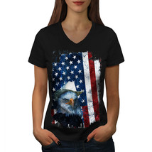 Eagle Cowboy Hat Flag USA Shirt Eagle Flag Women V-Neck T-shirt - $12.99+
