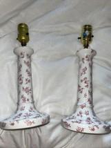 2 Vintage Laura Ashley Floral Bedside Table Lamp Set Pink White Shabby C... - $89.09