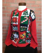 Chandler Hill Womens Cardigan L Snowflake Buttons Ugly Christmas Sweater... - $24.74