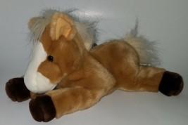 Aurora Tan Brown White Horse Plush Stuffed Animal Pony Toy Bean Bag - $17.77