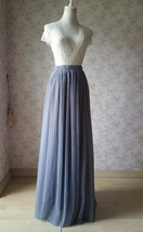 GRAY Elastic High Waisted Full Midi Tulle Skirt Plus Size Bridesmaid Midi Skirt image 5