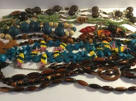 7 Vintage Wooden Beaded Necklace, Great Condition (M1) - $13.00